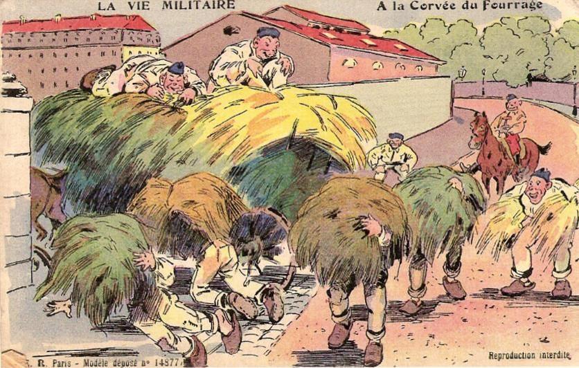 « A la corvée de fourrage » (carte humoristique envoyée le 30 décembre 1916 par Félix Gruz ; doc famille Devillaz)