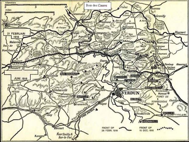 Situation du bois des Caures au nord de Verdun (site vincent.juillet.free.fr)