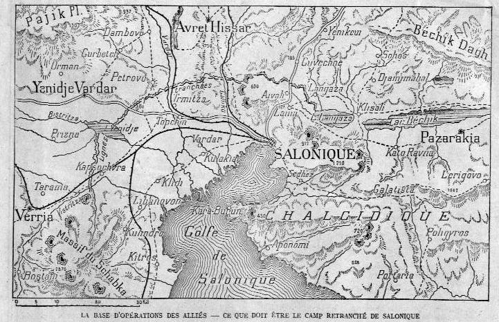 Carte du camp retranché de Salonique (site Wikipedia, art ; expédition de Salonique)