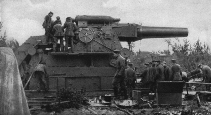 L'artillerie lourde sur voie ferrée : canon allemand de 420 mm (site cheminots.net)