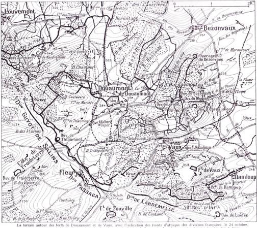 Douaumont et Vaux le 24 octobre 1916 ; Damloup, en bas à droite ; Louvemont, en haut à gauche (site dupuyblogspotcom)