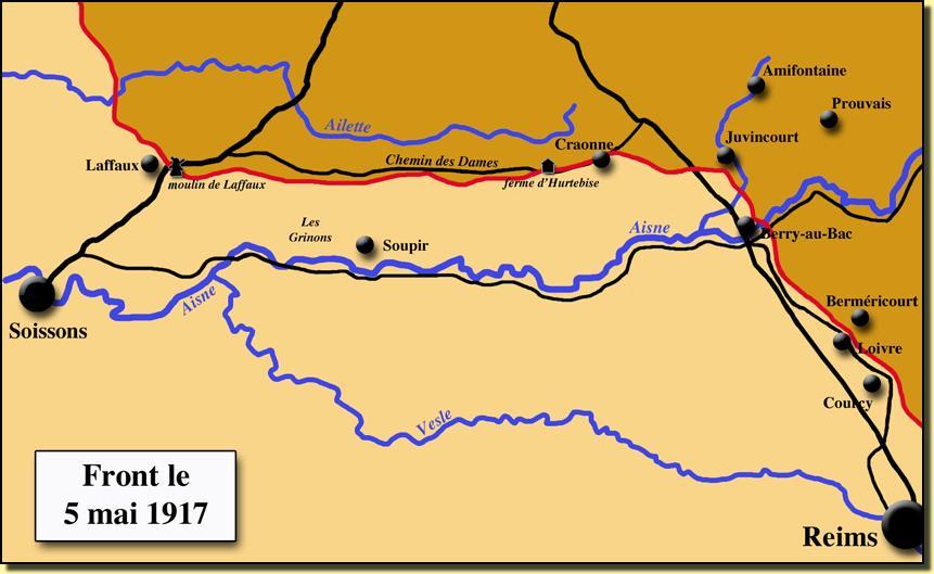 Carte du front sur l'AISNE le 16 avril 1917