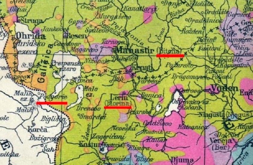 Situation de Koritza (ou Korca, ou Korçë), au S.O. du lac Prespa (site genealogie22.com)