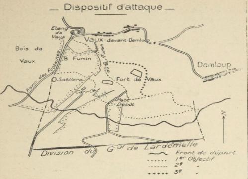 Plan du dispositif d'attaque le 23 octobre 1916, tiré de l'Historique du 333e RI, page 27 (site gallica)