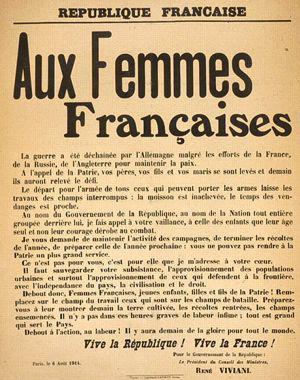 Appel de René Viviani aux « Femmes Françaises » (Voir le texte intégral sur le site du Figaro)