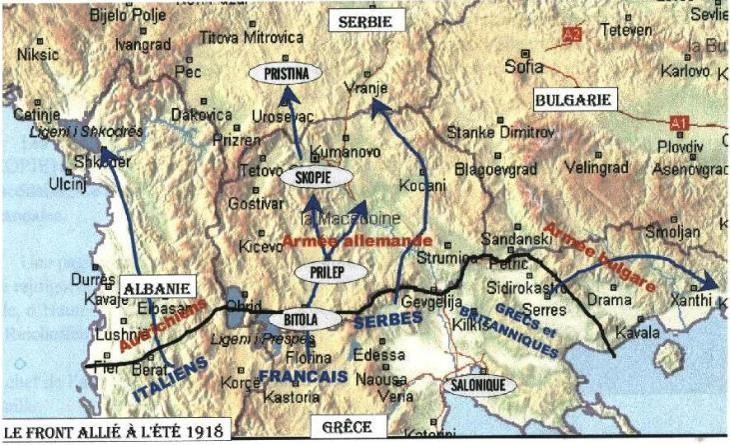 Le front allié à l'été 1918 : Priština, en haut (site cheminots.net)