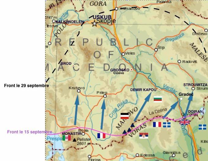 Prilep et la manœuvre d'Uskub-Skopje en haut à gauche (Wikipedia, art. manœuvre d'Uskub)