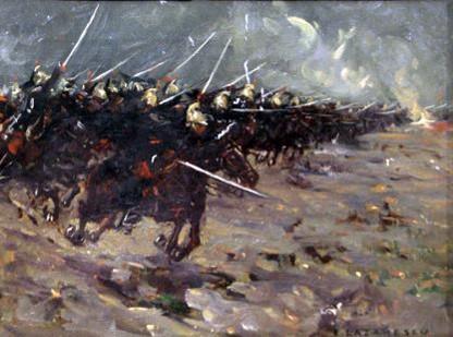Charge de cavalerie, toile d'Emilian Lăzărescu : une grande charge telle qu'imaginée par ce peintre roumain installé en France (Wikipedia, art. Cavalerie française pendant la Première Guerre mondiale)