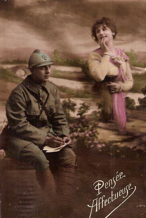 Carte postale « Pensée affectueuse » envoyée à Passy le 26 décembre 1916 par Félix Gruz (Doc. famille Devillaz, Passy)