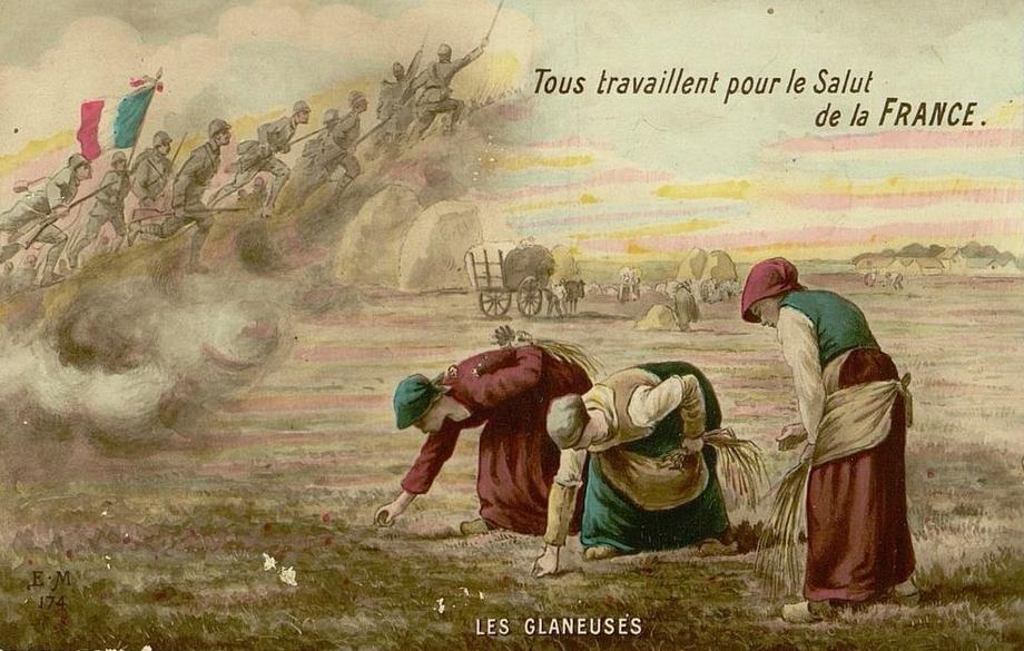 Carte postale « Tous travaillent pour le salut de la France » (site archivespasdecalais.fr)