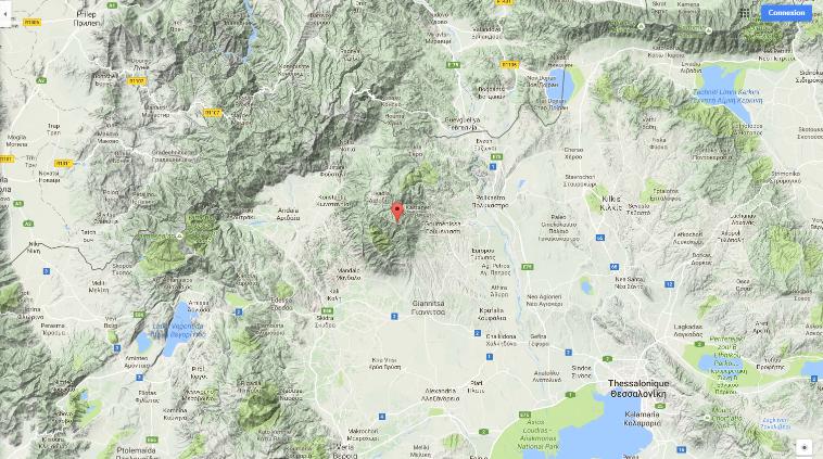 Le mont Paiko et Skra au N.O. de Thessalonique (Google maps : chercher Mount Paiko)