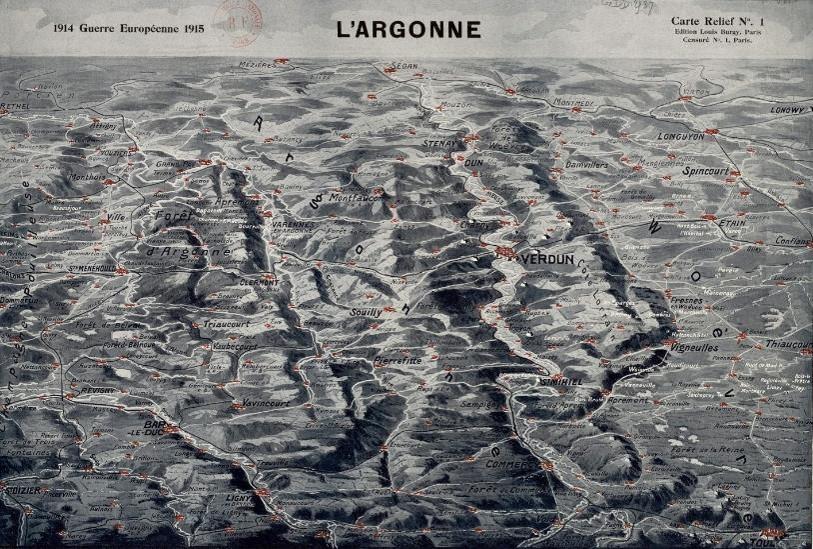 Carte en relief de l'Argonne, Verdun et de la Woëvre (site Gallica.bnf)