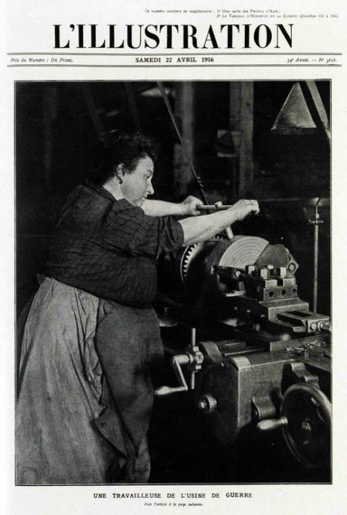 Une travailleuse de l'usine de guerre (L'Illustration du samedi 27 avril 1916, site 87dit.canalblog.com)