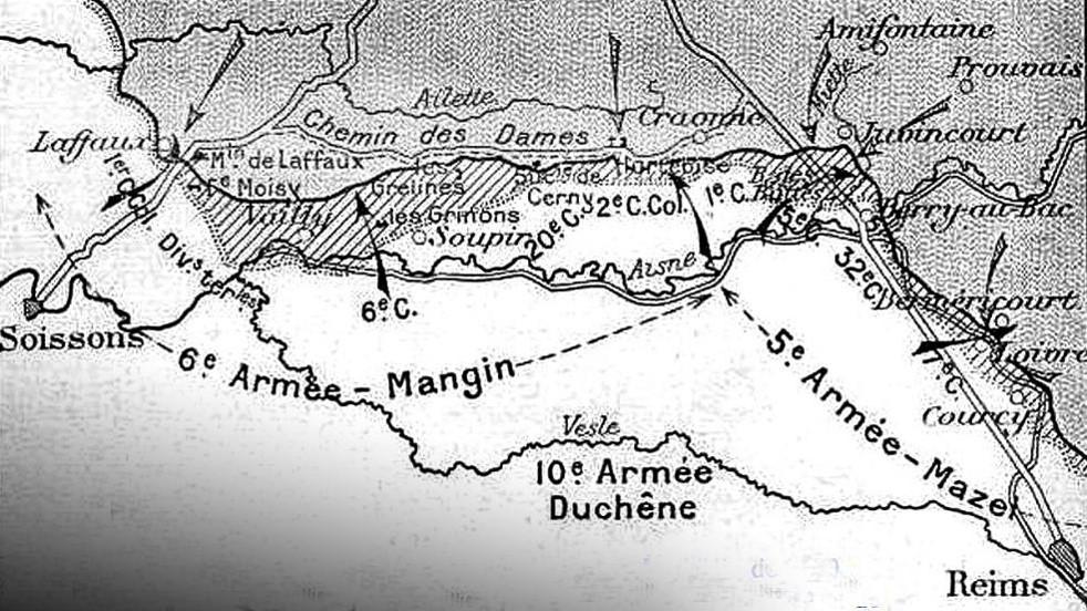 Loivre et Berméricourt, au nord de Reims à droite de la carte (Carte du Chemin des Dames tirée du Guide Michelin des champs de bataille, 1920, site historyweb.fr)