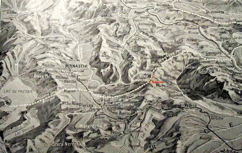 Carte en relief de Monastir parue dans l'Illustration du 28 septembre 1918, reproduite sur pages14-18.com et sur le site quemeneven1418.org)