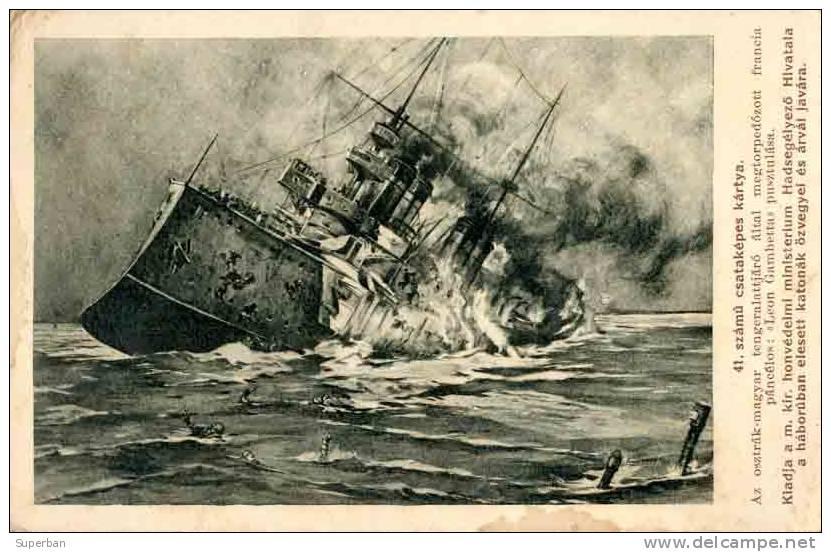 """Le croiseur cuirassé """"Léon Gambetta"""" coulé par le sous-marin autrichien U-5 en avril 1915 (image de propagande, site Delcampe)"""