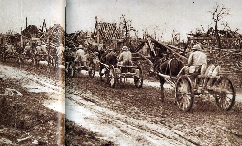 Convoi hippomobile de ravitaillement en munitions vers le front (site geneanet.org)