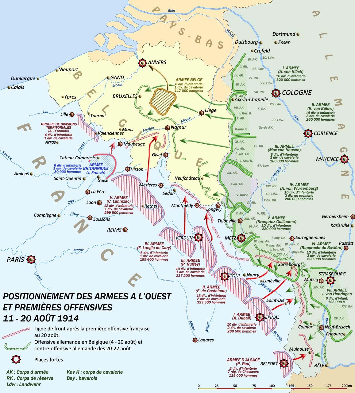 Positionnement des armées à l'ouest et premières offensives 11-20 août 1917 ; au centre la position de la IVe Armée (site crdp-strasbourg.fr)