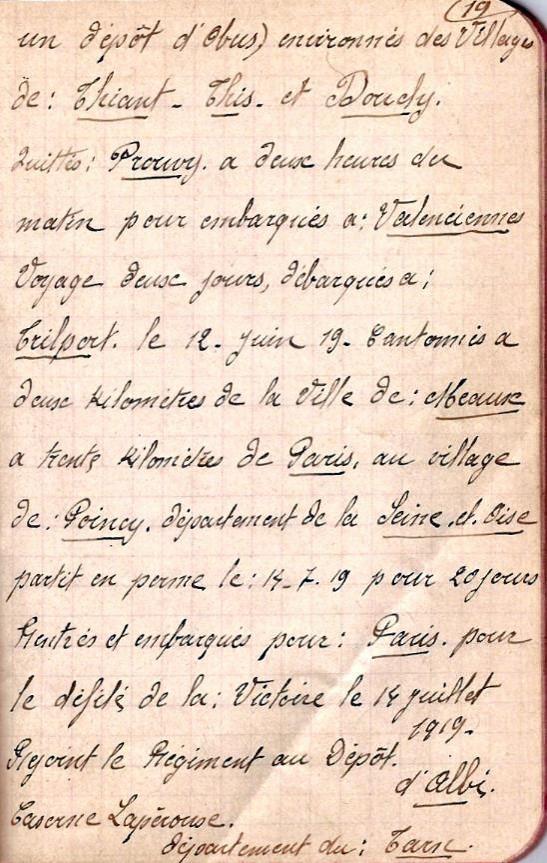 Page 19 du carnet de route du Passerand Joseph Perroud (Doc. Marcel Perroud, Passy)
