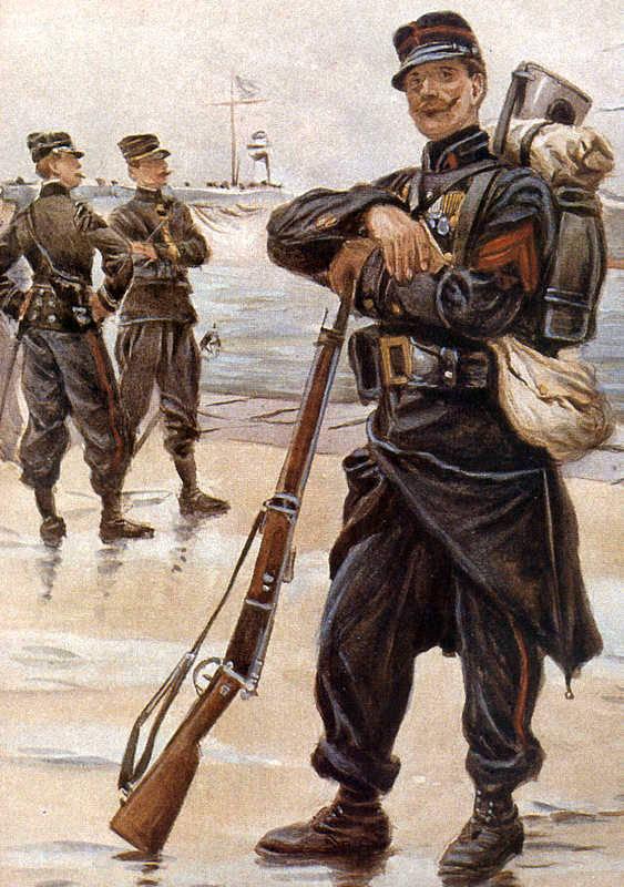 Fantassin du 1er régiment d'infanterie coloniale en 1904, par Alphonse Lalauze (site rosalielebel75)