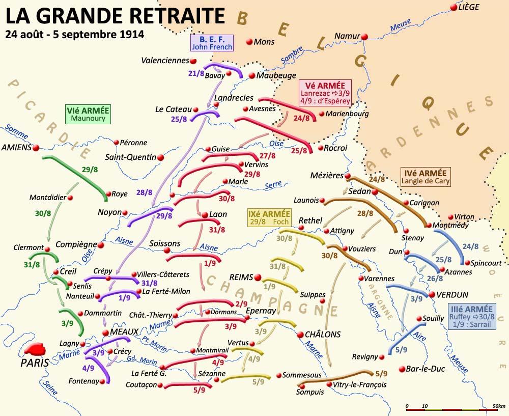 Carte de la Grande retraite, 24 août-5 septembre 1914 ; mouvement de la IVe armée à droite, Vitry-le-François en bas à droite (site crdp-strasbourg.fr)