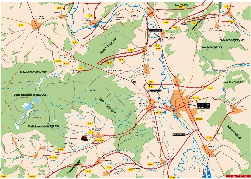 Traversée de la Meuse ; forêt de Jaulnay en haut de la carte (Site stenay-14-18.com)