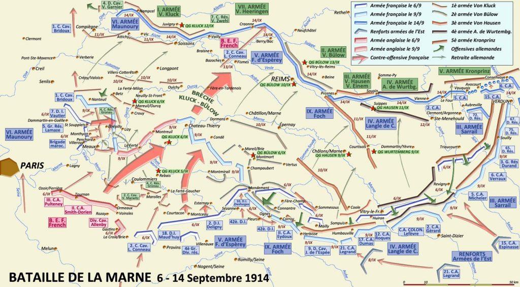 Bataille de la Marne, 6-14 septembre 1914 ; Corps colonial en bas à droite (site crdp-strasbourg.fr)