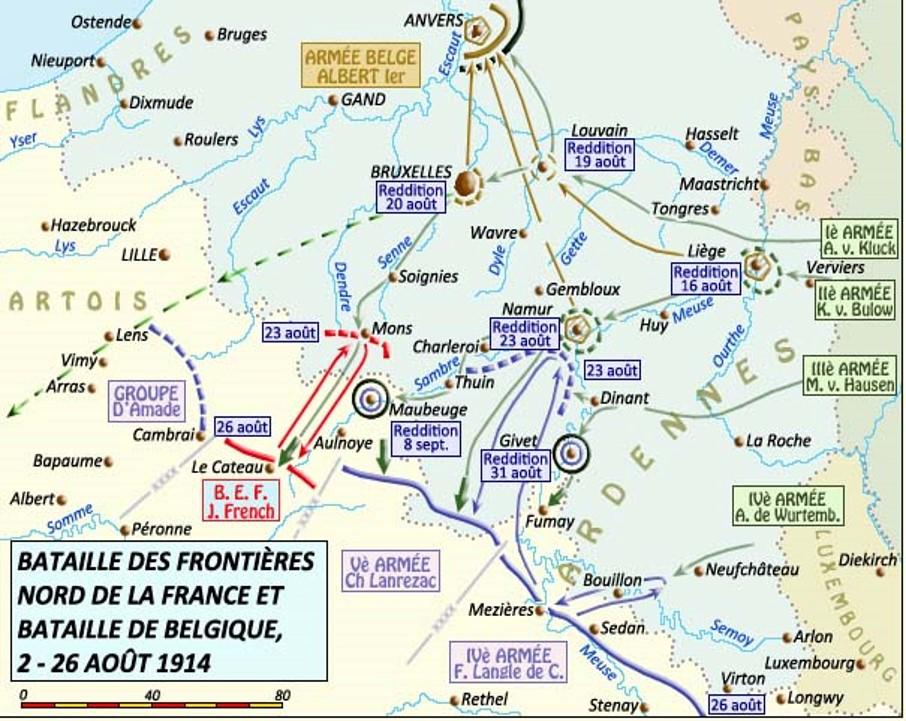 Bataille des frontières nord de la France et bataille de Belgique, 2-26 août 1914 (site crdp-strasbourg.fr)