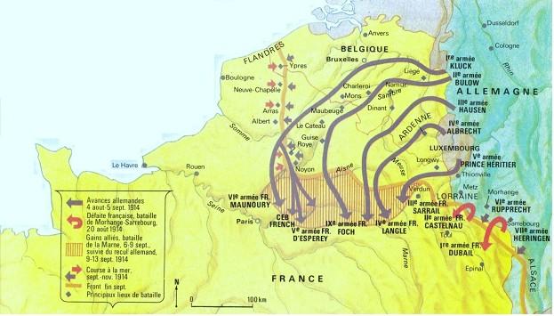 Les mouvements des armées française et allemande d'août à novembre 1914 (Internet)