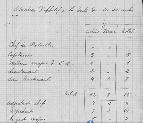 Situation d'effectif du 4e RIC (3e bataillon) à la date du 20 décembre 1914 (JMO page 16)
