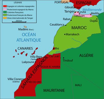 Carte du Maroc après le Traité de Fès de 1912, l'Empire chérifien est divisé en plusieurs zones de domination, française, espagnole et internationale (Wikipedia, art. Maroc)