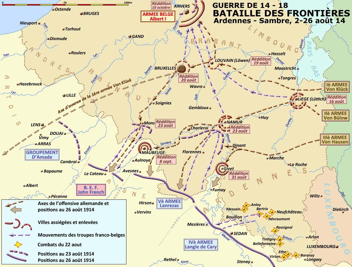 Carte des combats du 22 août 1914 dans les Ardennes, en bas à droite (site crdp-strasbourg.fr)