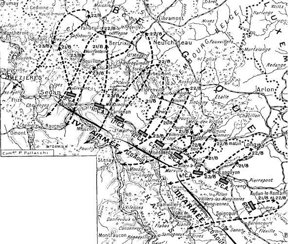 Opérations des 3e et 4e armées du 6 au 25 août 1914 ; offensive et repli du Corps Colonial (C.C.) au milieu de la carte (Site chtimiste.com, page Opérations des 3e et 4e armées du 6 au 25 août 1914)