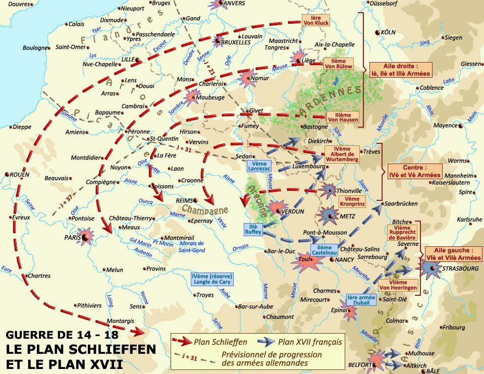 Le plan Schlieffen et le plan XVII (site crdp-strasbourg.fr)