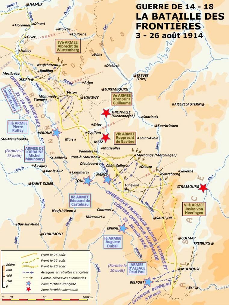 Offensive des Ardennes, 21-26 août 1914, en haut de la carte (site crdp-strasbourg.fr)