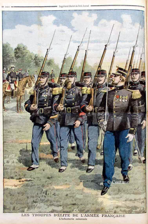 « Les troupes d'élite de l'armée française : l'infanterie coloniale », Le Petit Journal illustré du 6 octobre 1907 (site cent.ans.free.fr)