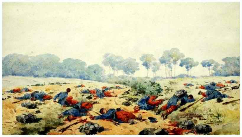 La journée tragique du 22 août 1914, aquarelle de Nestor Outer (site 87dit.canalblog.com)