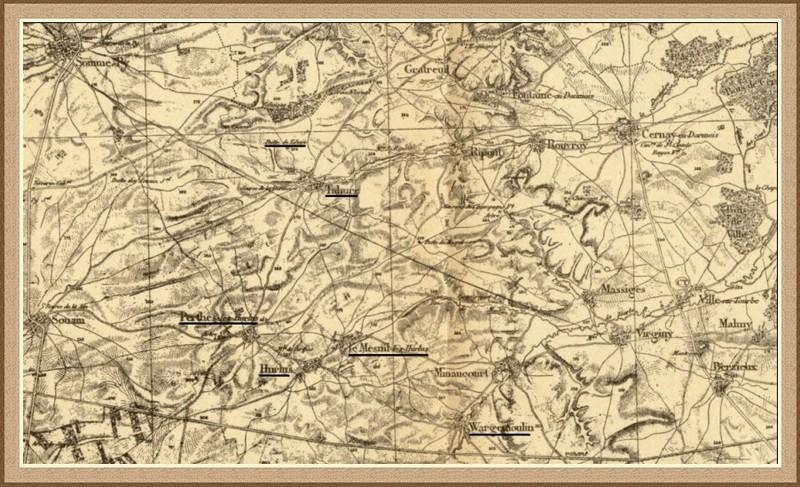 Carte de Tahure, Perthes-les-Hurlus ; Cernay-en-Dormois, Rouvroy (en haut à droite) (site laurent59.canalblog.com)