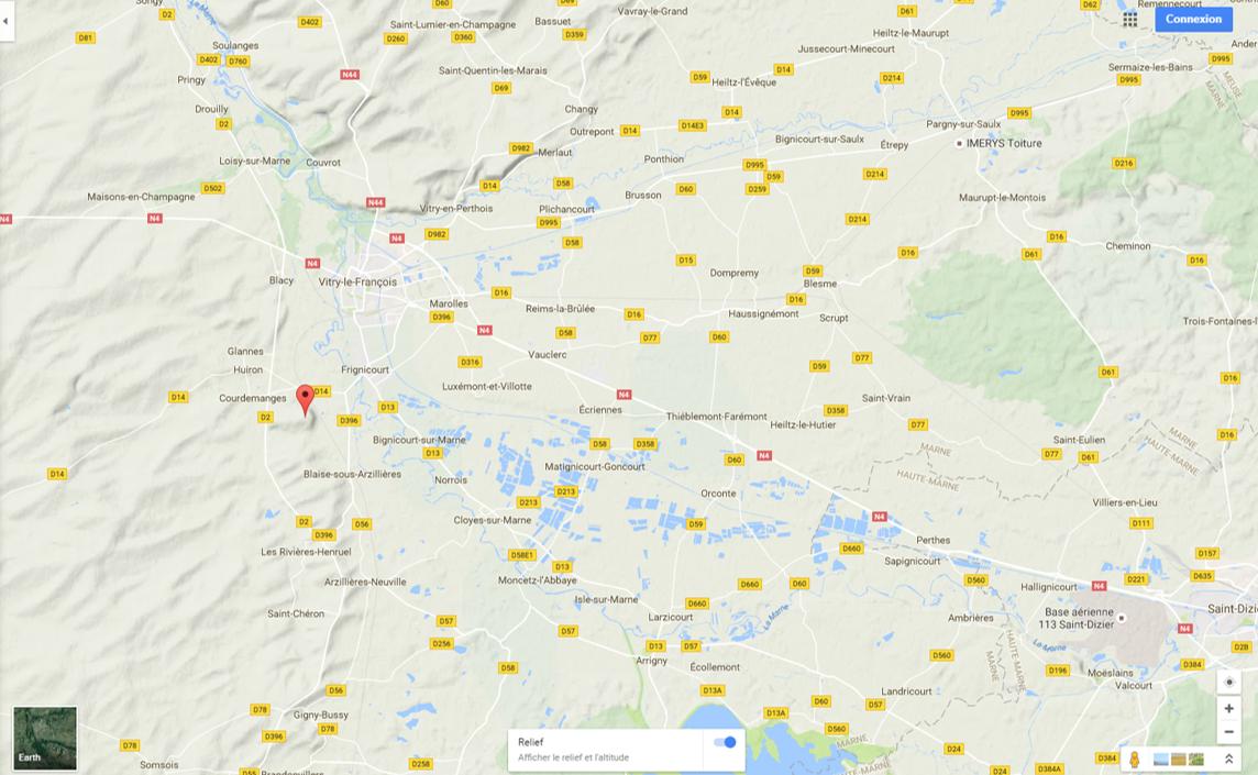 Mont-Moret (flèche) ; Matignicourt-Goncourt, Cloyes-sur-Marne, Ecriennes (au nord de Matignicourt), Orconte (à l'est de Matignicourt) Source Google