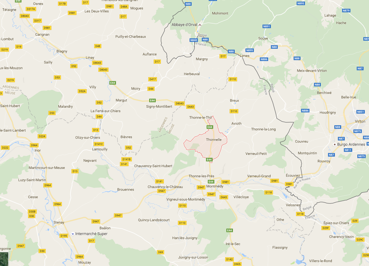 Margny, Breux et Thonnelle (en haut) ; Thonne-les-Prés, Chauvency-le-Château, Bièvres, Signy et Montlibert ; Lamouilly, Martincourt-sur-Meuse, Luzy-St-Martin ; Stenay (en bas à gauche) Source : Google