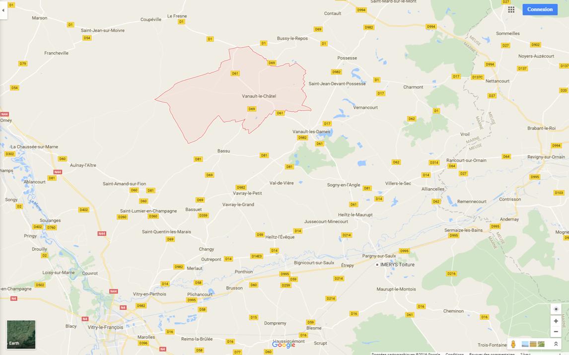 Bassu (4 km S. de Vanault-le-Châtel), Vitry-le-François et Vitry-en-Perthuis (en bas à gauche) Source : Google