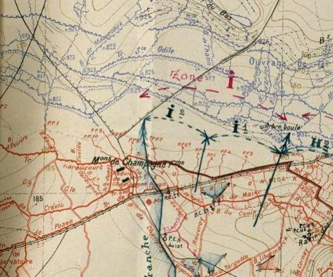 Carte du secteur de la ferme Maison de Champagne en date de mars 1917 (29e régiment d'infanterie : J.M.O. > J.M.O. 1er janvier-31 décembre 1917, 26 N 604/5 page 10)