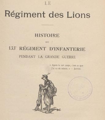 Historique du 133e RI : couverture