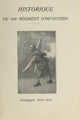 Historique du 158e RI : couverture