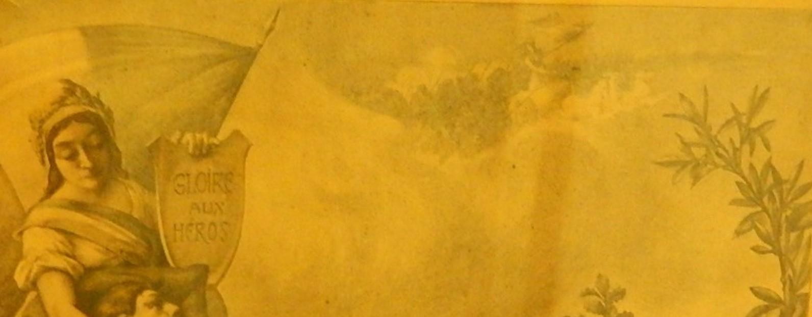 « Tableau d'honneur des Enfants de la commune Morts pour la Patrie et des citations à l'ordre du jour », arrière-plan du frontispice (cliché Bernard Théry)