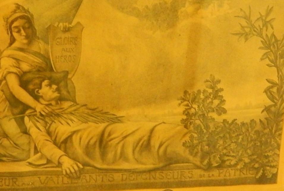 « Tableau d'honneur des Enfants de la commune Morts pour la Patrie et des citations à l'ordre du jour », détail du frontispice (cliché Bernard Théry)