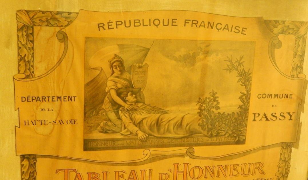 « Tableau d'honneur des Enfants de la commune Morts pour la Patrie et des citations à l'ordre du jour », le frontispice du document (cliché Bernard Théry)