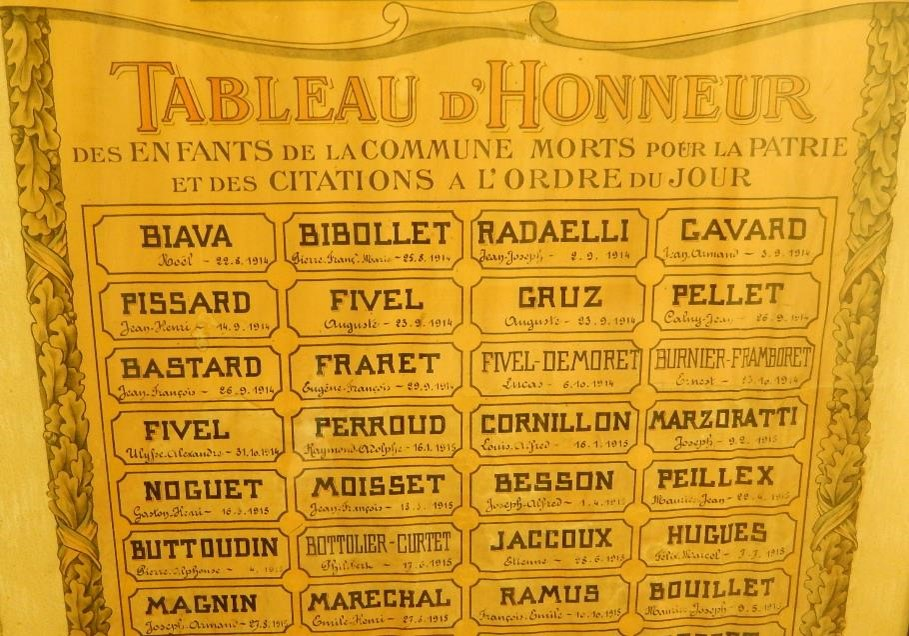 « Tableau d'honneur des Enfants de la commune Morts pour la Patrie et des citations à l'ordre du jour », 7 premières lignes (cliché Bernard Théry)