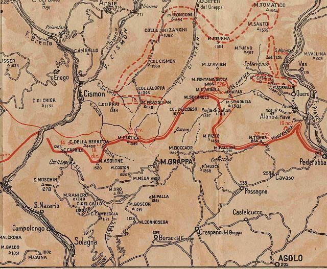 Carte du front italien