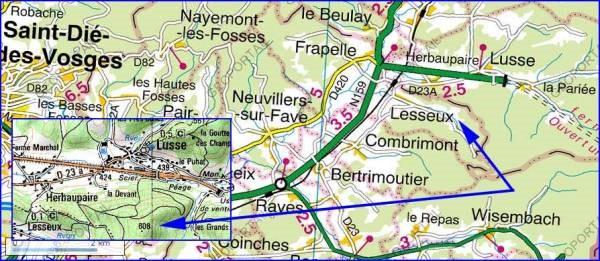 Situation de LESSEUX près de St-Dié